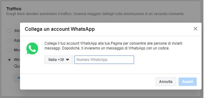 Account whatsapp su facebook